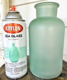 Bathroom window? Get the Seaglass Look with Sea Glass Spray Paint and Frosted Glass Spray Paint... http://www.completely-coastal.com/2016/09/seaglass-spray-paint-frosted-glass.html Turn Glass Bottles and Glass Jars into Beachy Vases with Sea Glass Spray Paint!