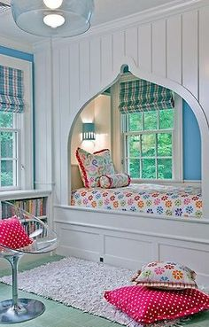 what a cute idea! maybe for my future daughters room :D with the bed in, it makes the room seem more open & clean