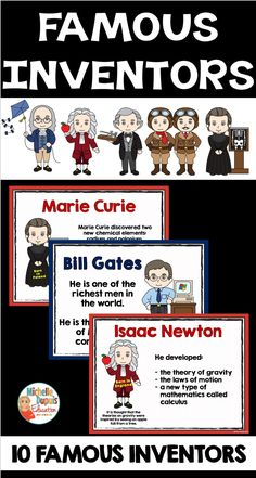 Discover 10 famous inventors in the classroom. Students will have fun learning about inventors that changed the world. Samuel Morse, Theory Of Gravity, Primary Classroom, Classroom Ideas, Wright Brothers, Isaac Newton, Marie Curie, Inventors, Teaching French