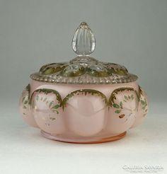 0P552 Antik rózsaszín üveg bonbonier