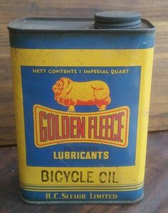 Golden fleece service station oil cans with a oil for almost everything
