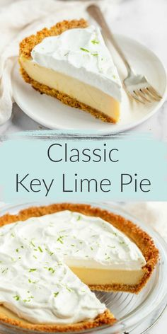 Classic key lime pie is a delicious dessert, perfect anytime! Classic key lime pie recipe features an easy homemade graham cracker crust, a smooth and creamy key lime pie filling, and homemade whipped cream on top. The perfect dessert for key lime lovers! Winter Desserts, Mini Desserts, Tolle Desserts, Easy Desserts, Delicious Desserts, Key Lime Desserts, Classic Desserts, Dessert Party, Pie Dessert
