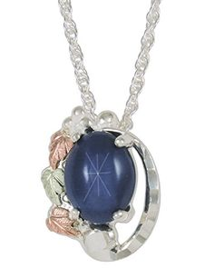 Created Blue Star Sapphire Pendant Necklace, Sterling Silver, 12k Green and Rose Gold Black Hills Gold Motif, 18'' ** Additional info @ http://www.amazon.com/gp/product/B01B7UEU20/?tag=jewelry3638-20&pop=260716125340