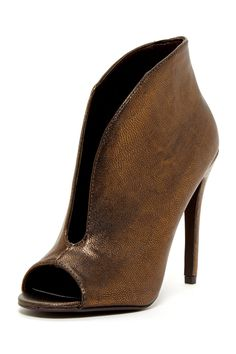Rina Deep Cut Metallic Heel Bootie