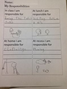 School counseling guidance lesson -lesson 1 in responsibility unit- write about your responsibilities in different environments. Contact me for lesson plans and worksheets. -samara