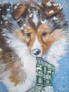 Shetland Sheepdog Sheltie Print Painting Dog LSHEP Art | eBay