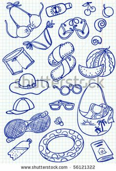 Summer doodles set - stock vector
