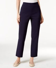 Alfred Dunner Petite Tummy-Control Pull-On Straight-Leg Pants - Blue 10P