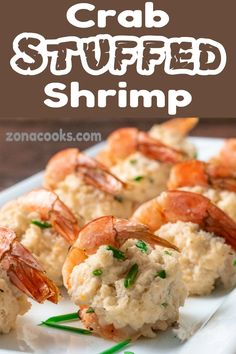 Crab Stuffed Shrimp are delicious, decadent and impressive. Large shrimp are butterflied and filled with a cream cheese, crab and chive filling, then baked to perfection. This dish makes a great appetizer for a small dinner party. It also works gre Crab And Shrimp Recipe, Salmon And Shrimp, Grilled Shrimp Recipes, Shrimp Recipes For Dinner, Dinner Party Recipes, Seafood Dinner, Quick Dinner Recipes, Fish Recipes, Seafood Recipes
