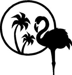 Flamingo, palm tree
