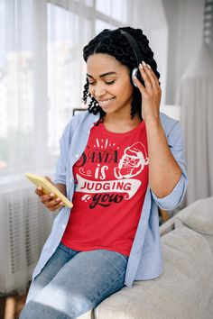 Women's Funny Christmas T Shirt Santa Shirt Santa Judging You Xmas Shirts Hilarious Graphic Tee Shirt Ladies Woman