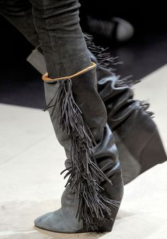 3f46ddb75 Botas Mujer negro   ante blanco punta redonda sobre la rodilla Botas Fringe