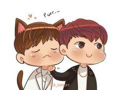 Cute fan art for V & Jin BTS // ajejdjfurir SO CUTE AGH WNDJFIJFJR