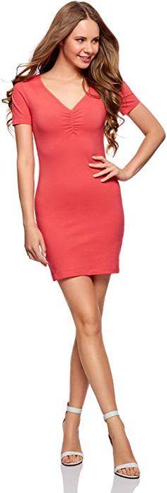 oodji Ultra Femme Robe Moulante à Col en V, Rose, FR 36 XS  Amazon.fr   Vêtements et accessoires 908cc7119f74