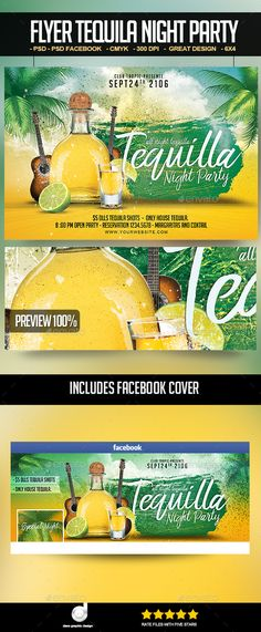 Tequila Night Party Flyer Template PSD. Download here: https://graphicriver.net/item/flyer-tequila-night-party/17372357?ref=ksioks