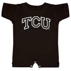 Texas Christian Horned Frogs NCAA Arch Logo Outline Black Infant T-Romper