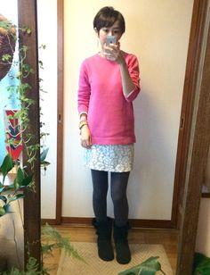 1月24日 ZARAピンクニットにレースミニスカートなガーリースタイルで美容院
