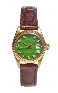 18K Yellow Gold Ladies' Rolex Datejust With Green Stella Diamond Dial by Fourtané Rolex for Preorder on Moda Operandi