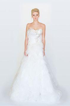 Elegant Floor Length Tulle A-line #Strapless #Sweetheart #Wedding Dress