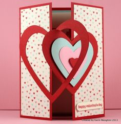 """Stampin' Up! ... handmade Valentine ... Interlocking Heart Framelits ... gatefold format with large die cut hearts as """"lock"""" on the front ... great card!"""