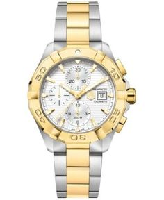 95aeb693b0f Tag Heuer Men s Swiss Automatic Chronograph Aquaracer Silver-Tone and 18k  Gold-Plated Stainless Steel Bracelet Watch