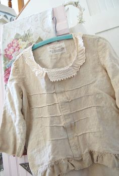 Heavy Linen Pullover Tunic Wheat SMALL Shabby by OfLinenandLace, $38.50