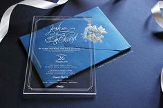 Vinas invitation. Acrylic invitation. Blue simple elegant. Acrylic. Modern wedding invitation. Australia wedding. Any question pls visit www.vinasinvitaton.com. courtesy of John and Cheryl