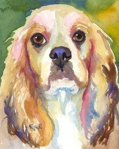 Cocker Spaniel Art Print of Original Watercolor by dogartstudio