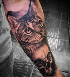 Hyperrealistic cat tattoo