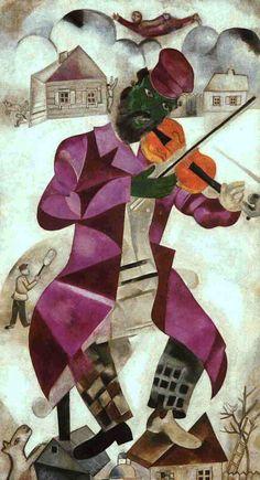 """""""Le violoniste"""" Peinture surréaliste de l'artiste Marc Chagall -1924-"""