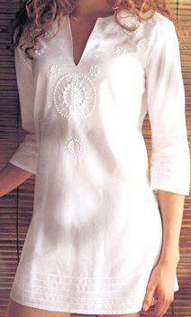 Very beautiful embroidery work Kurta/shirt. With white fabric it can match with any outfit to go with it. Indian Dresses, Indian Outfits, Tunic Blouse, Tunic Tops, Mode Inspiration, Indian Wear, Indian Fashion, Blouses For Women, Fashion Brands