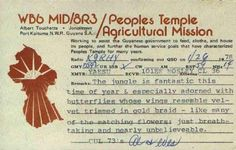 Ham radio transmission QSL Card dated January 1978 from infamous death cult People's Temple in Jonestown, Guyana.