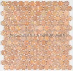 Mineral Tiles - Iridescent Pool Glass Tile Peach Penny Round, $14.95 (http://www.mineraltiles.com/iridescent-pool-glass-tile-peach-penny-round/)
