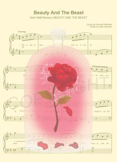 Beauty and the Beast The Enchanted Rose Sheet Music by AmourPrints Walt Disney, Disney Nerd, Disney Love, Disney Pixar, Disney Sheet Music, Disney Songs, Disney Quotes, Disney Images, Disney Pictures