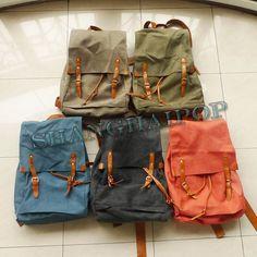 18 Unisex Canvas Rucksack Backpack Fashion Large Bag Travel Retro Faux Leather