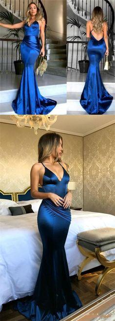 Royal Blue Satin Sexy Mermaid Cross Back Long Prom Dresses, Popular Evening Dresses, BG0355 #popularbridal #promdresses #mermaid #royalblue