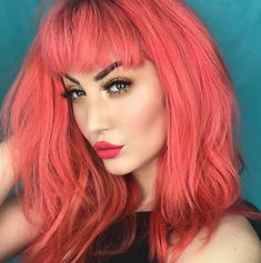 Strawberry queen 🍓💗👑 custom mixed 'Neon Peach' and 'Strawberry Jam' to achieve her perfect color! Also wearing TRUE LOVE and Cute Medium Length Hairstyles, Hairstyles With Bangs, Pretty Hairstyles, Peach Hair Colors, Hair Colours, Lip Colors, Hair Color 2018, Semi Permanent Hair Color, Demi Permanent