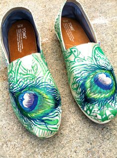 Made to Order Custom Painted TOMS Peacock Feather Shoes (Grosgrain Material) on Etsy, $185.00