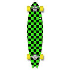 Fishtail Longboard Complete - Checker Green
