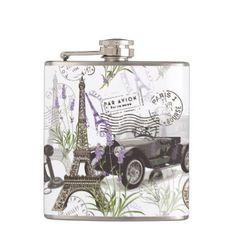 Vintage Paris Hip Flask - diy cyo customize create your own personalize
