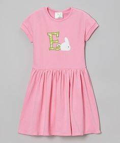 This Pink Bunny Initial Dress - Toddler & Girls by Patty's Collection is perfect! #zulilyfinds