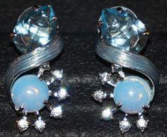 Jackie Kennedy Earrings  Blue Morning Mist with by SCLadyDiJewelry
