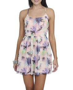 Chiffon Palm Tree Dress - Dresses