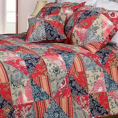 PATCHWORK QUEEN QUILT SET RED NAVY BLUE TAN BROWN CREAM PAISLEY FLORAL STRIPE 3P