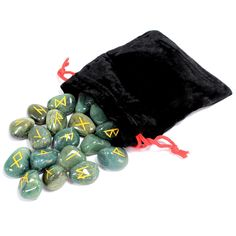 Indian Runes in Pouch - Blood Green