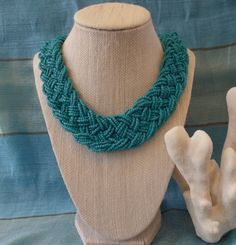 Intricately Braided Turquoise Seed Bead by TheGreenEyedTurtle, $30.00