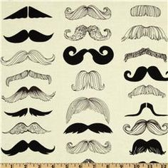 Where's My Stache? White from Alexander Henry $8.98 | 1 yd, destined to become a winter scarf for me