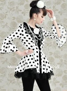 BLING 10140 2012 Fall Clothing White black wave point Lace Falbala Puff Half Sleeve single breasted Woman Costs-in Trench from Apparel & Acc...