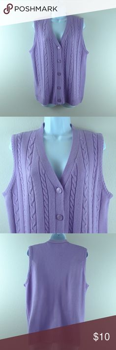 AMERICAN SWEATHEART CABLE KNIT SWEATER VEST American Sweatheart by Haband, size medium, 100% acrylic, lavender, great condition. American Sweatheart Sweaters V-Necks