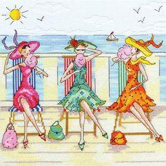 0 point de croix amies mangeant barbapapa à la plage - cross stitch 3 friends eating candy floss at the beach